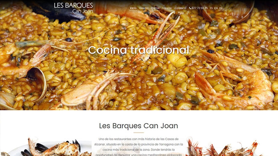 Diseño web para Restaurant Les Barques Can Joan